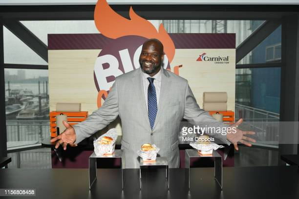 Shaquille O'Neal, NBA star and Carnival Cruise Line's Chief Fun Officer, gives guests a taste of his highly-anticipated dishes that will be offered...
