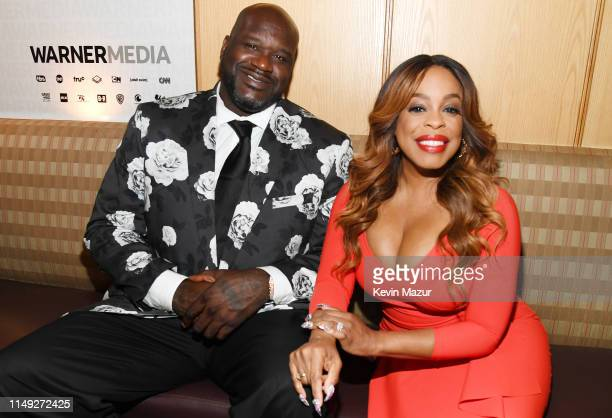 Shaquille O'Neal of Inside The NBA on TNT and Niecy Nash of TNT's Claws pose in the WarnerMedia Upfront 2019 green room at Nick and Stef's Steakhouse...