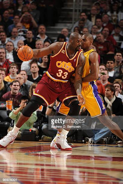 Shaquille O'Neal of the Cleveland Cavaliers backs his way into the paint against Andrew Bynum of the Los Angeles Lakers on January 21 2010 at The...