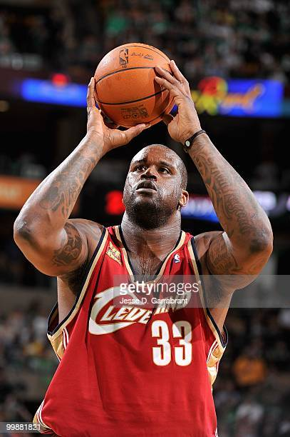 Shaquille O'Neal of the Cleveland Cavaliers shoots a free throw in Game Six of the Eastern Conference Semifinals against the Boston Celtics during...