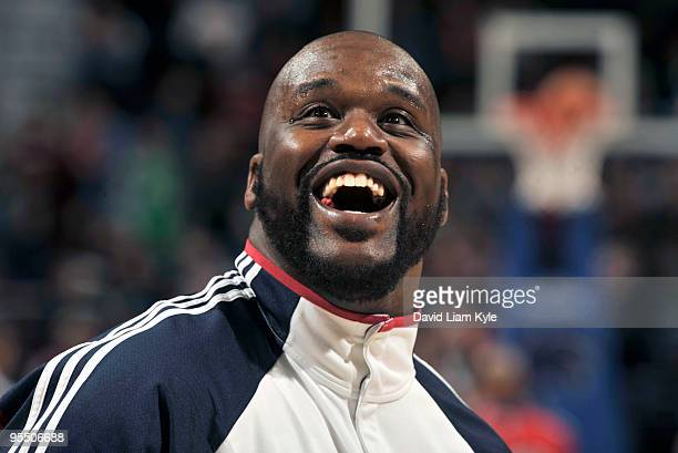 Shaquille O'Neal of the Cleveland Cavaliers smiles wide during warmups prior to the game against the Atlanta Hawks on December 30 2009 at The Quicken...