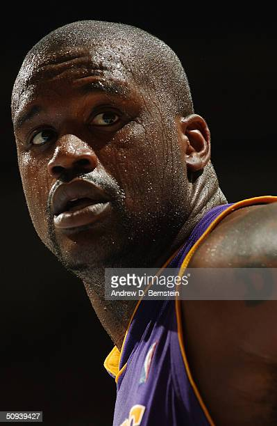 Shaquille O'Neal of the Los Angeles Lakers looks on during the game against the Minnesota Timberwolves in Game One of the Western Conference Finals...