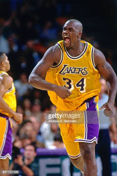Shaquille O'Neal of the Los Angeles Lakers reacts against the Minnesota Timberwolves on November 13 1996 at the Great Western Forum in Inglewood...