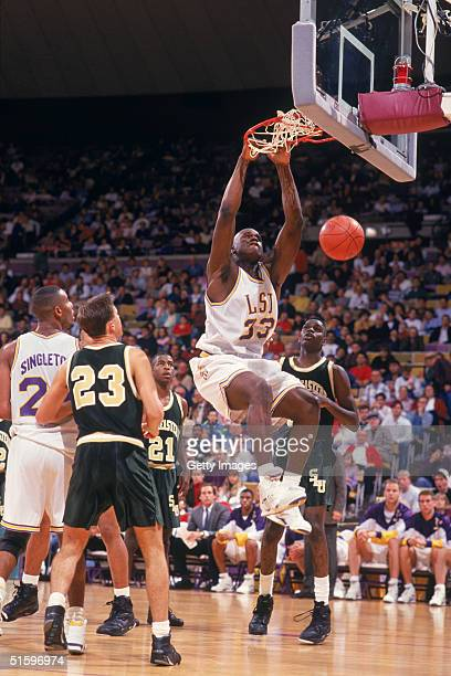 Shaquille O'Neal of the Louisiana State University Tigers makes a slam dunk during an NCAA game against the Southeastern Louisiana University LIons...