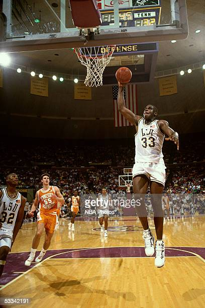 Shaquille O'Neal of the LSU Tigers soars in for a slam dunk against the Tennessee Volenteers circa 1990 NOTE TO USER User expressly acknowledges and...