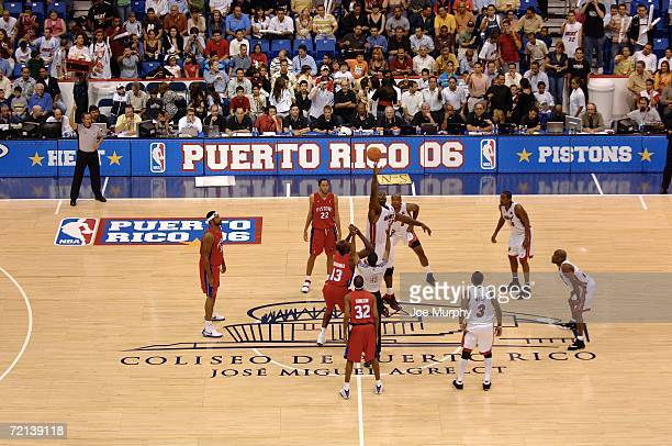 Shaquille O'Neal of the Miami Heat at the opening tip during a preseason game against the Detroit Pistons on October 10 2006 at Coliseo De Puerto...