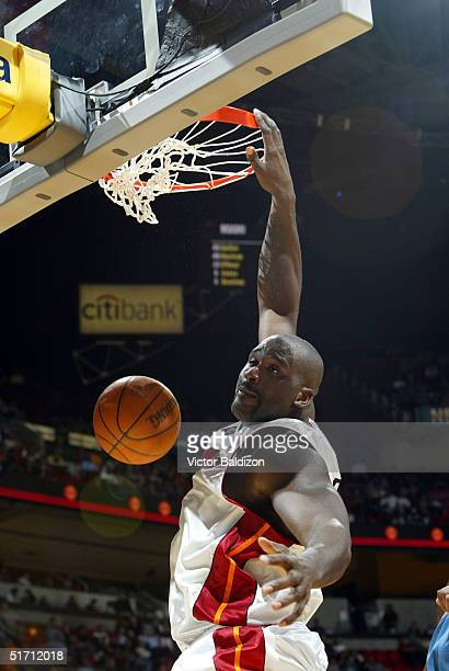 Shaquille O'Neal of the Miami Heat dunks against the Washington Wizards on November 9 2004 at American Airlines Arena in Miami Florida NOTE TO USER...