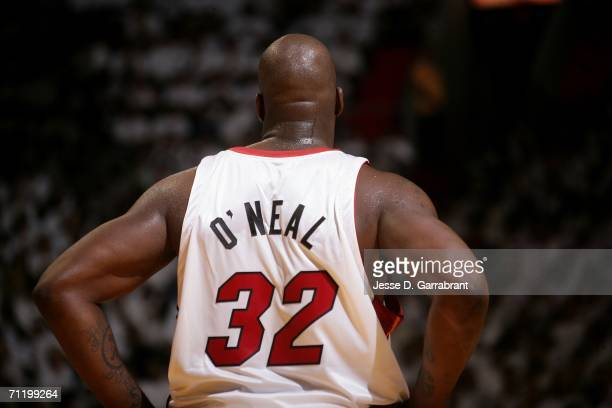 Shaquille O'Neal of the Miami Heat is seen on court against the Dallas Mavericks during Game Three of the 2006 NBA Finals June 13 2006 at American...