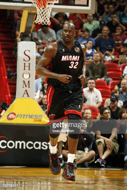 Shaquille O'Neal of the Miami Heat jogs downcourt during the NBA game against the Minnesota Timberwolves at American Airlines Arena on March 9 2007...