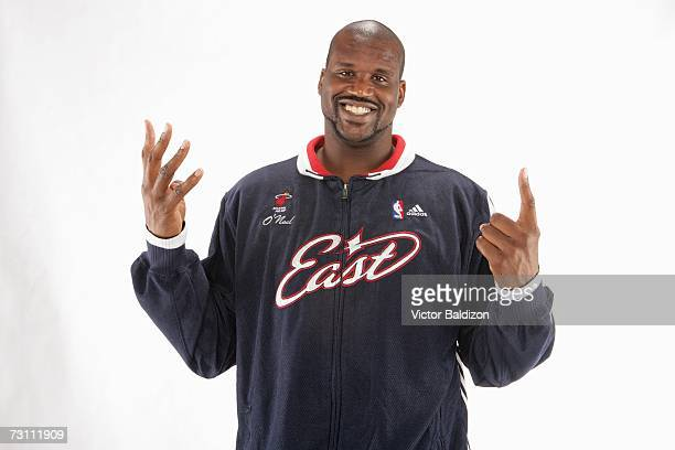 Shaquille O'Neal of the Miami Heat poses in his 2007 NBA AllStar uniform at the American Airlines Arena on January 24 2007 in Miami Florida NOTE TO...