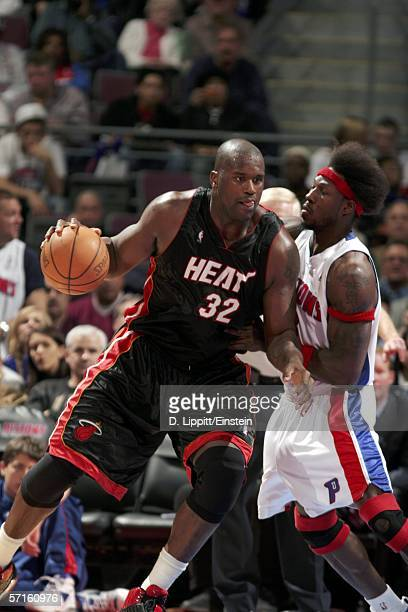 Shaquille O'Neal of the Miami Heat post up Ben Wallace of the Detroit Pistons in a game on March 22, 2006 at the Palace of Auburn Hills in Auburn...