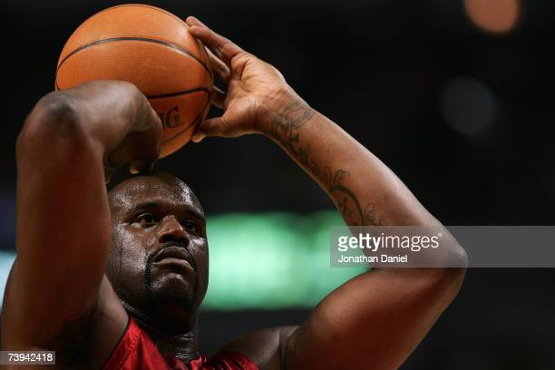 Shaquille O'Neal of the Miami Heat shoots a freethrow attempt against the Chicago Bulls in Game One of the Eastern Conference Quarterfinals during...