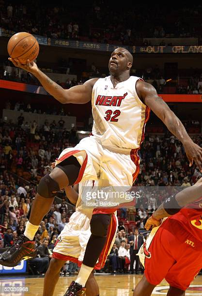 Shaquille O'Neal of the Miami Heat shoots against the Atlanta Hawks January 19 2005 at American Airlines Arena in Miami Florida NOTE TO USER User...