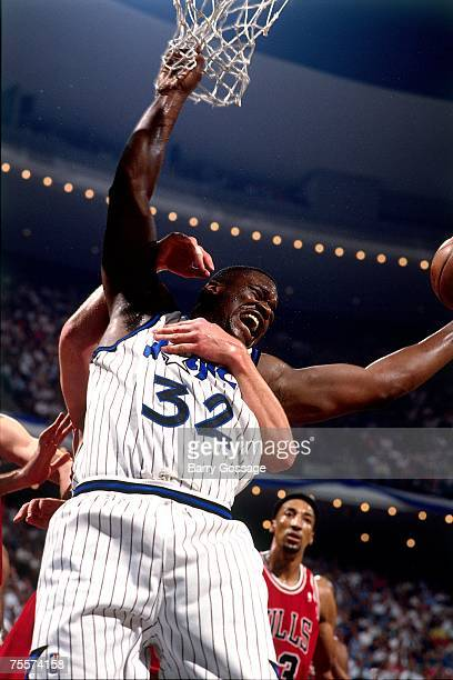 Shaquille O'Neal of the Orlando Magic draws a foul against the Chicago Bulls in Game Two of the 1995 Easter Conference Semi-Finals against at the...