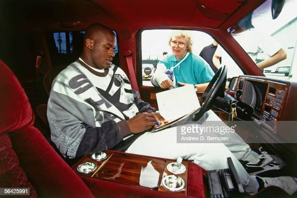 Shaquille O'Neal of the Orlando Magic signs autographs circa 1994. NOTE TO USER: User expressly acknowledges and agrees that, by downloading and or...