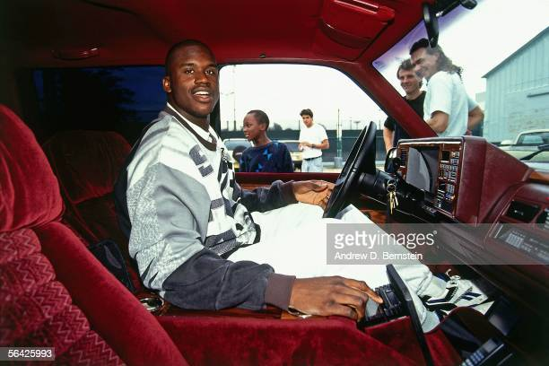 Shaquille O'Neal of the Orlando Magic waits in his car after a game circa 1994. NOTE TO USER: User expressly acknowledges and agrees that, by...