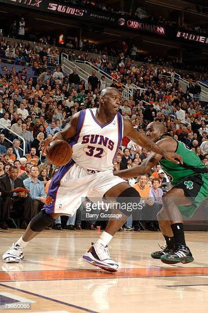 Shaquille O'Neal of the Phoenix Suns drives against the Boston Celtics in an NBA game played at U.S. Airways Center February 22, 2008 in Phoenix,...