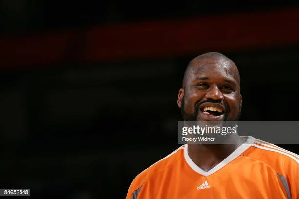 Shaquille O'Neal of the Phoenix Suns has a big smile etched across his face before the game against the Golden State Warriors on February 4 2009 at...