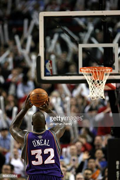 Shaquille O'Neal of the Phoenix Suns shoots a free throw against the Portland Trail Blazers at the Rose Garden on March 18 2008 in Portland Oregon...