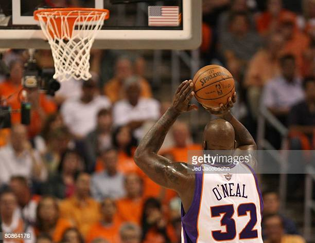 Shaquille O'Neal of the Phoenix Suns shoots a free throw against the San Antonio Spurs during Game Three of the Western Conference Quarterfinals...