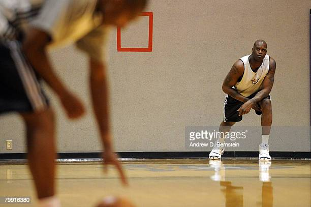 Shaquille O'Neal of the Phoenix Suns stretches during practice at U.S. Airways Center on February 21, 2008 in Phoenix, Arizona. NOTE TO USER: User...