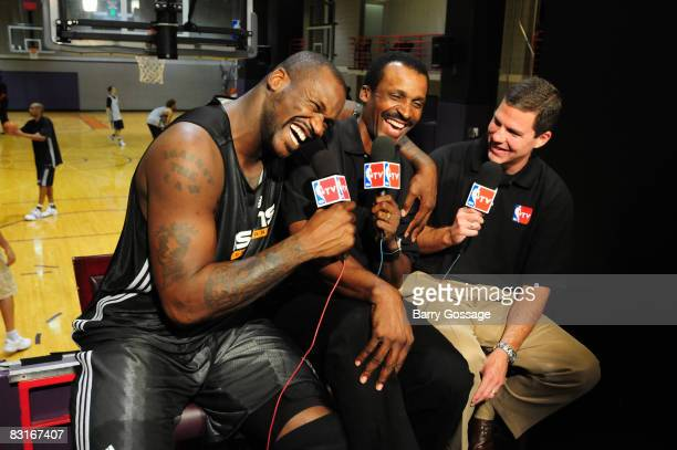 Shaquille O'Neal of the Phoenix Suns talks with NBA Legend Eddie Johnson and Rick Kamla during NBA TV's Real Training Camp visit to the Phoenix Suns...