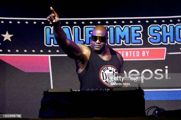 Shaquille O'Neal performs as DJ Diesel at The SHAQ Bowl for Super Bowl LV on February 07, 2021 in Tampa, Florida.