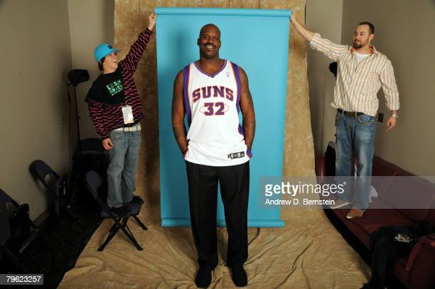 Shaquille O'Neal poses for portraits after the Phoenix Suns held a press conference about his acquisition at US Airways Center on February 7 2008 in...