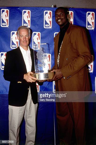 Shaquille O'Neal poses with Magic Genral Manager Pat Williams after Shaquille O'Neal receives the 1993 NBA Rookie of the Year award. NOTE TO USER:...