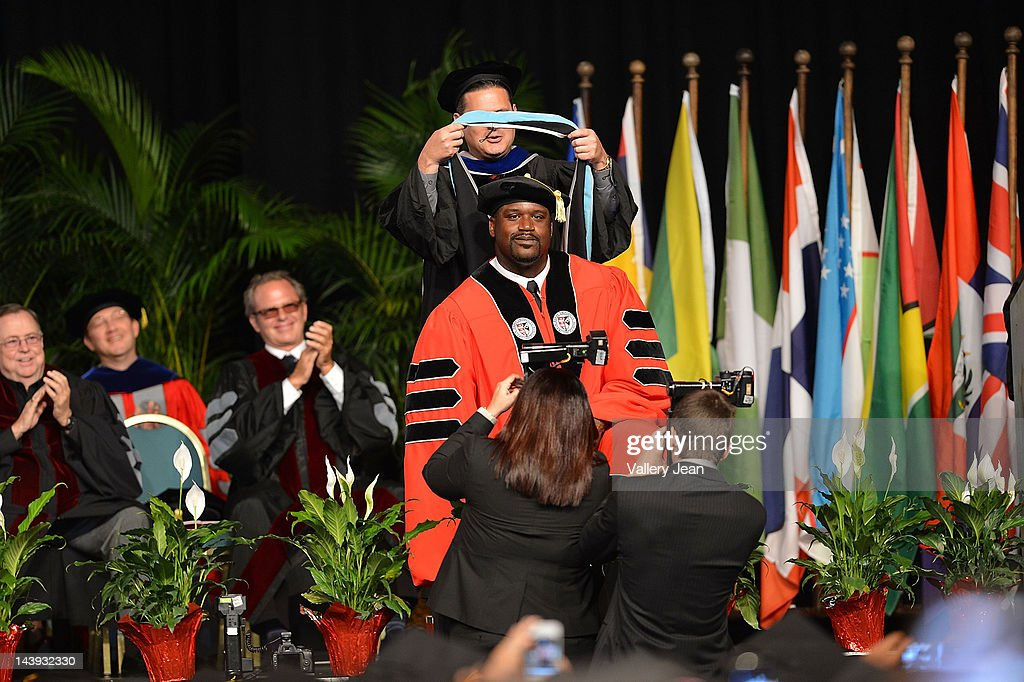Shaquille O'Neal receives doctoral degree in education from Barry University at James L Knight Center on May 5, 2012 in Miami, Florida.