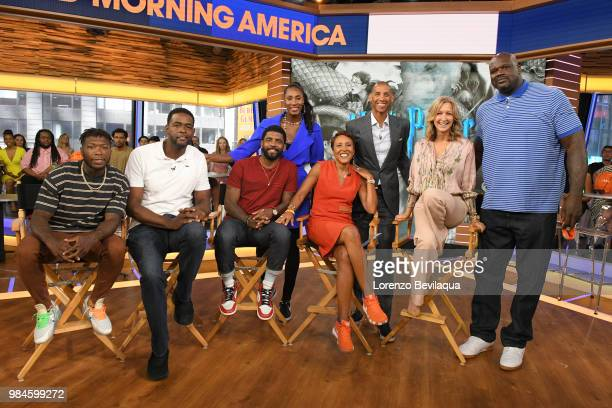 AMERICA Shaquille ONeal Reggie Miller Kyrie Irving Chris Webber and Lisa Leslie are guests on 'Good Morning America' on Tuesday June 26 2018 airing...