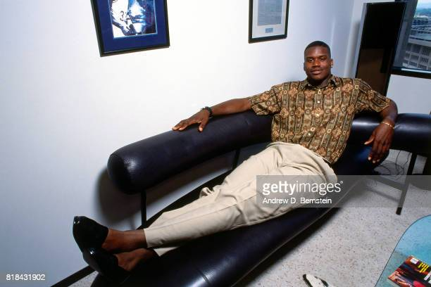Shaquille O'Neal relaxes before the 1992 NBA Draft on June 24 1992 in Portland Oregon NOTE TO USER User expressly acknowledges and agrees that by...