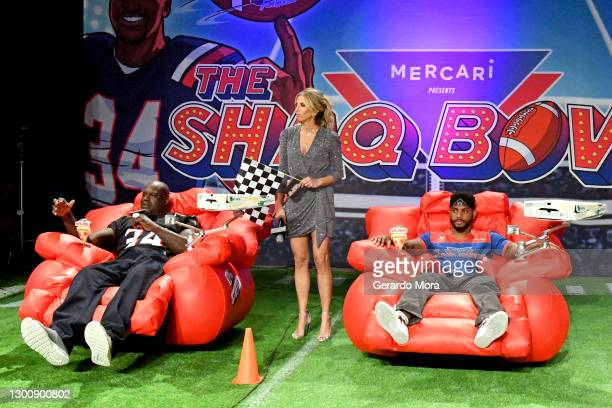 Shaquille O'Neal, Sara Walsh, and Bryson Tiller speak during The SHAQ Bowl for Super Bowl LV on February 07, 2021 in Tampa, Florida.