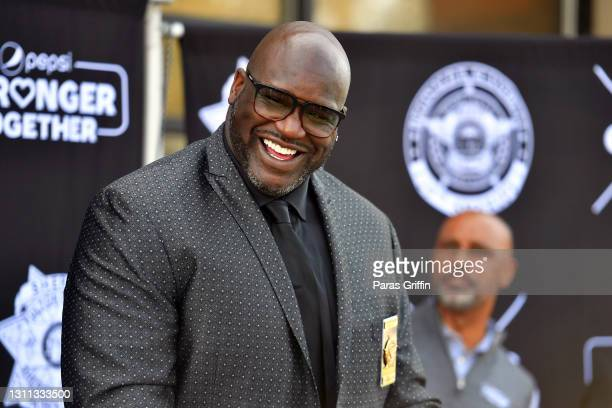 Shaquille O'Neal speaks during Pepsi Stronger Together and CTG Foundation Atlanta Law Enforcement Press Conference on April 07, 2021 in McDonough,...