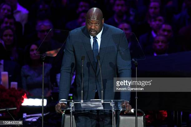 Shaquille O'Neal speaks during The Celebration of Life for Kobe Gianna Bryant at Staples Center on February 24 2020 in Los Angeles California