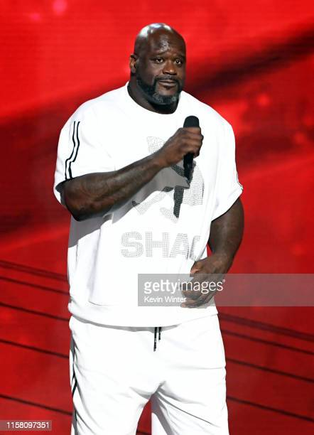 Shaquille O'Neal speaks onstage during the 2019 NBA Awards presented by Kia on TNT at Barker Hangar on June 24, 2019 in Santa Monica, California.
