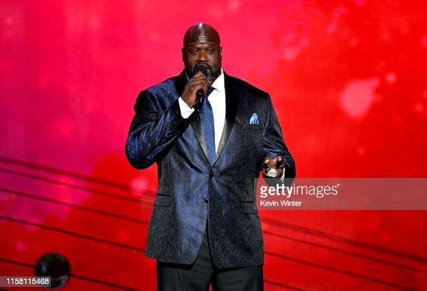 Shaquille O'Neal speaks onstage during the 2019 NBA Awards presented by Kia on TNT at Barker Hangar on June 24 2019 in Santa Monica California
