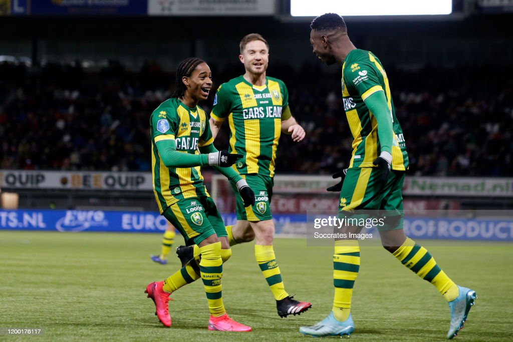 Shaquille Pinas Of Ado Den Haag Celebrates 0 1 With Crysencio News Photo Getty Images
