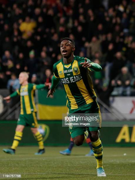 Shaquille Pinas of ADO Den Haag celebrates 1-0 during the Dutch Eredivisie match between ADO Den Haag v RKC Waalwijk at the Cars Jeans Stadium on...