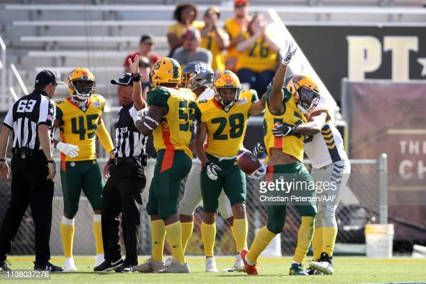 Shaquille Richardson of the Arizona Hotshots celebrates his interception late in the game against the San Diego Fleet during the second half of the...