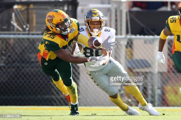 Shaquille Richardson of the Arizona Hotshots intercepts a ball intended for Kyle Lewis of the San Diego Fleet during the second half of the Alliance...
