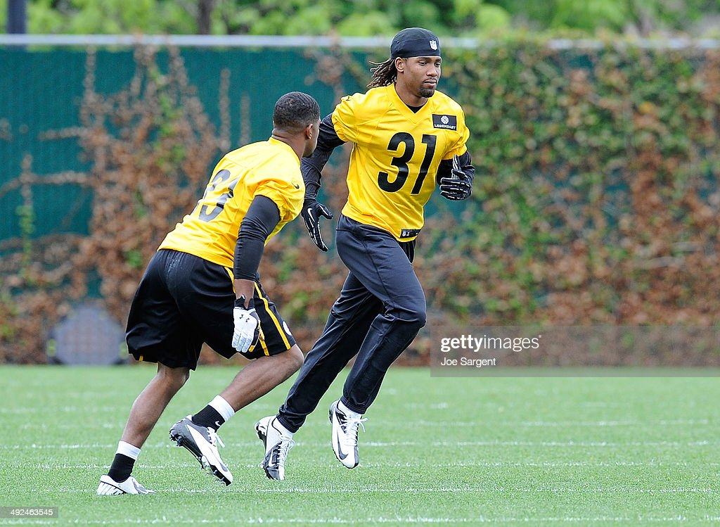 Shaquille Richardson #31 of the Pittsburgh Steelers participates in drills during rookie minicamp at the Pittsburgh Steelers Training Facility on May 16, 2014 in Pittsburgh, Pennsylvania.