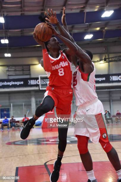 Shaquille Thomas of the Memphis Hustle handles the ball during the NBA GLeague Showcase Game 25 between the Memphis Hustle and the Maine Red Claws on...