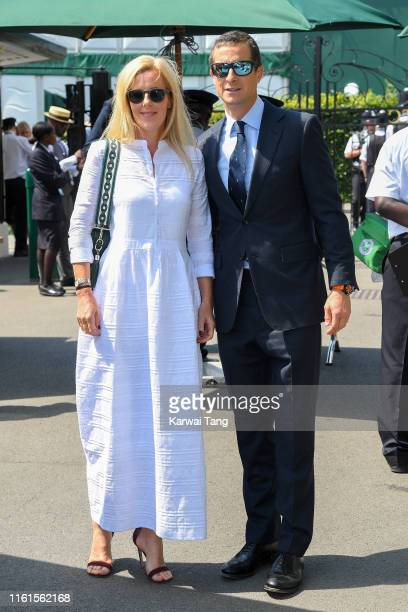 Shara Grylls and Bear Grylls attend day eleven of the Wimbledon Tennis Championships at All England Lawn Tennis and Croquet Club on July 12 2019 in...