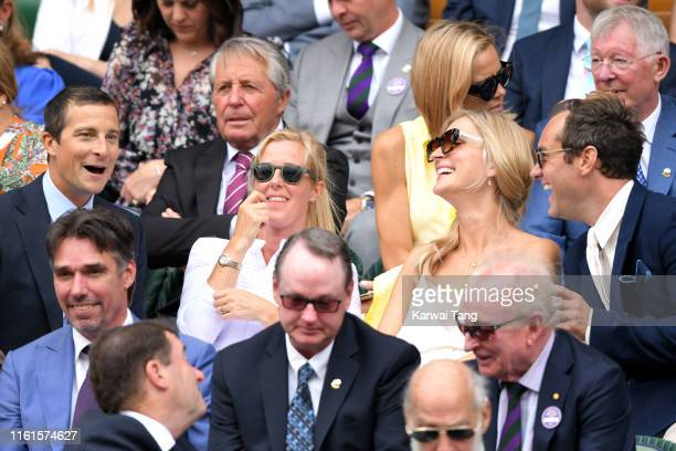 R] Shara Grylls Bear Grylls Phillipa Law and Jude Law on Centre Court during day eleven of the Wimbledon Tennis Championships at All England Lawn...