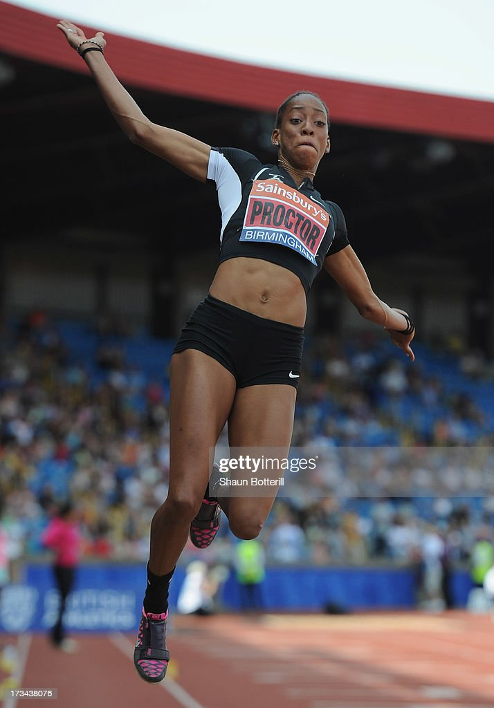 Shara Proctor of Birchfield Harriers competes in the Women's Long Jump during the Sainsbury's British Athletics World Trials and UK & England Championships at Birmingham Alexander Palace on July 14, 2013 in Birmingham, England.