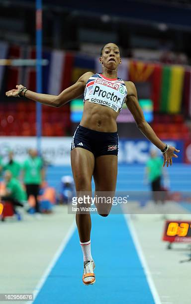 Shara Proctor of Great Britain and Northern Ireland competes in the Women's Long Jump Final during day two of the European Athletics Indoor...