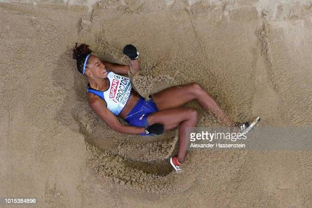 Shara Proctor of Great Britain competes in the Women's Long Jump Final during day five of the 24th European Athletics Championships at Olympiastadion...
