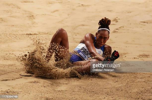 Shara Proctor of Great Britain competes in the Women's Long Jump final during day ten of 17th IAAF World Athletics Championships Doha 2019 at Khalifa...
