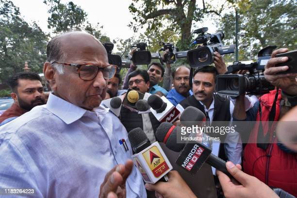 Sharad Pawar during the first day of the winter session of Parliament on November 18 2019 in New Delhi India The 250th Rajya Sabha Session which...